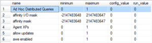 Ad Hoc Distributed Queries disabled