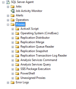 Expand SQL Server Agent and Proxies