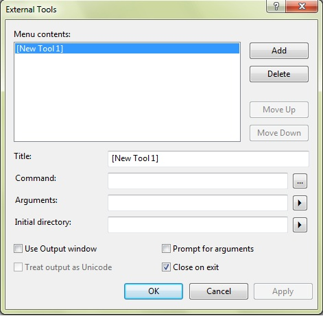 External Tools Dialog Box