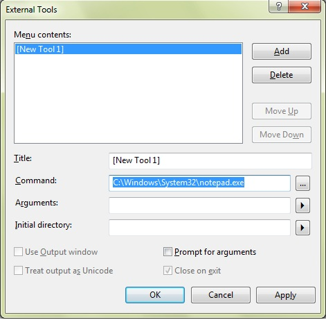 Select Notepad for external tools command