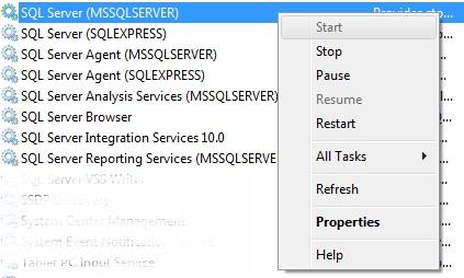 Start SQL Server Service